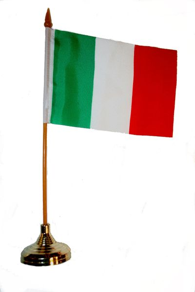 "ITALY 4"" X 6"" INCHES MINI COUNTRY STICK FLAG BANNER WITH GOLD STAND ON A 10 INCHES PLASTIC POLE .. NEW AND IN A PACKAGE."