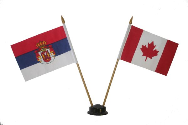 "SERBIA & CANADA SMALL 4"" X 6"" INCHES MINI DOUBLE COUNTRY STICK FLAG BANNER ON A 10 INCHES PLASTIC POLE .. NEW AND IN A PACKAGE"