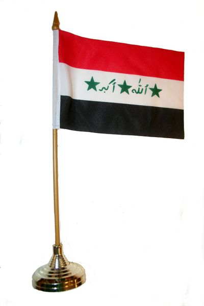 "IRAQ OLD 4"" X 6"" INCHES MINI COUNTRY STICK FLAG BANNER WITH GOLD STAND ON A 10 INCHES PLASTIC POLE .. NEW AND IN A PACKAGE."