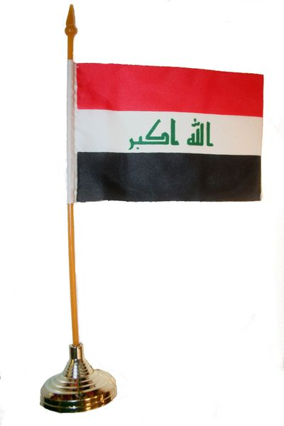 """IRAQ NEW 4"""" X 6"""" INCHES MINI COUNTRY STICK FLAG BANNER WITH GOLD STAND ON A 10 INCHES PLASTIC POLE .. NEW AND IN A PACKAGE."""