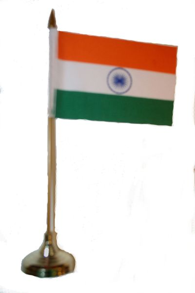 """INDIA 4"""" X 6"""" INCHES MINI COUNTRY STICK FLAG BANNER WITH GOLD STAND ON A 10 INCHES PLASTIC POLE .. NEW AND IN A PACKAGE."""
