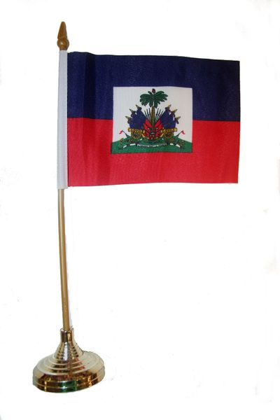 """HAITI 4"""" X 6"""" INCHES MINI COUNTRY STICK FLAG BANNER WITH GOLD STAND ON A 10 INCHES PLASTIC POLE .. NEW AND IN A PACKAGE."""