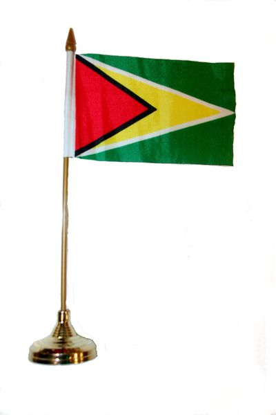 """GUYANA 4"""" X 6"""" INCHES MINI COUNTRY STICK FLAG BANNER WITH GOLD STAND ON A 10 INCHES PLASTIC POLE .. NEW AND IN A PACKAGE."""
