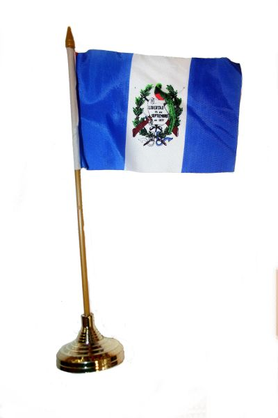 """GUATEMALA 4"""" X 6"""" INCHES MINI COUNTRY STICK FLAG BANNER WITH GOLD STAND ON A 10 INCHES PLASTIC POLE .. NEW AND IN A PACKAGE."""