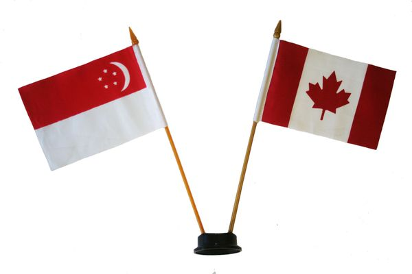 "SINGAPORE & CANADA SMALL 4"" X 6"" INCHES MINI DOUBLE COUNTRY STICK FLAG BANNER ON A 10 INCHES PLASTIC POLE .. NEW AND IN A PACKAGE"