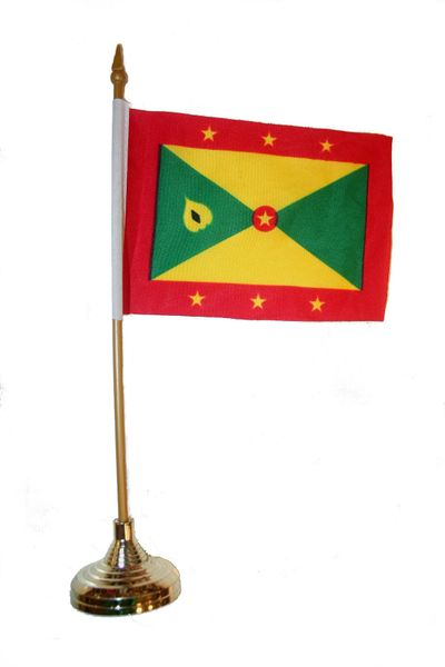 """GRENADA 4"""" X 6"""" INCHES MINI COUNTRY STICK FLAG BANNER WITH GOLD STAND ON A 10 INCHES PLASTIC POLE .. NEW AND IN A PACKAGE"""