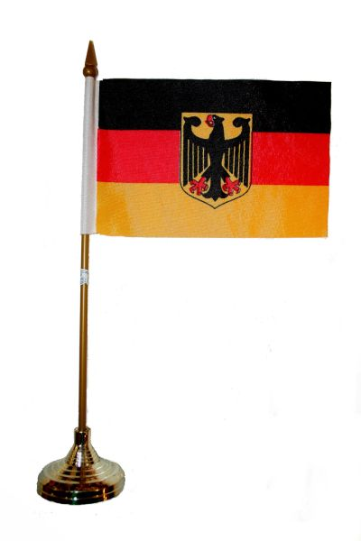 "GERMANY WITH EAGLE 4"" X 6"" INCHES MINI COUNTRY STICK FLAG BANNER WITH GOLD STAND ON A 10 INCHES PLASTIC POLE .. NEW AND IN A PACKAGE."
