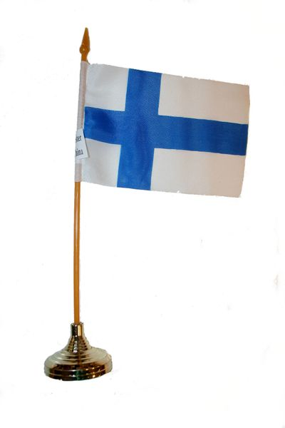 """FINLAND 4"""" X 6"""" INCHES MINI COUNTRY STICK FLAG BANNER WITH GOLD STAND ON A 10 INCHES PLASTIC POLE .. NEW AND IN A PACKAGE."""
