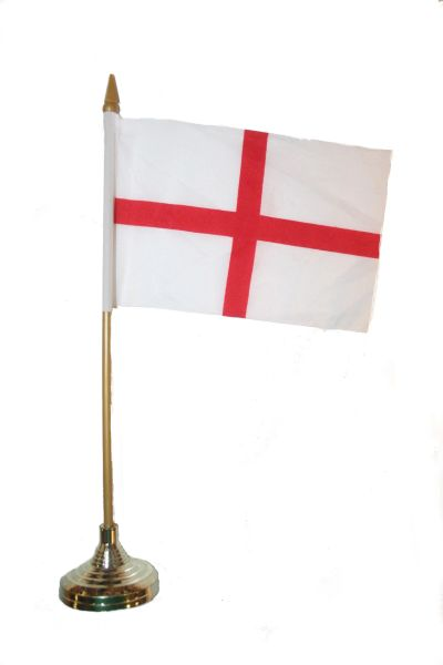 "ENGLAND 4"" X 6"" INCHES MINI COUNTRY STICK FLAG BANNER WITH GOLD STAND ON A 10 INCHES PLASTIC POLE .. NEW AND IN A PACKAGE."