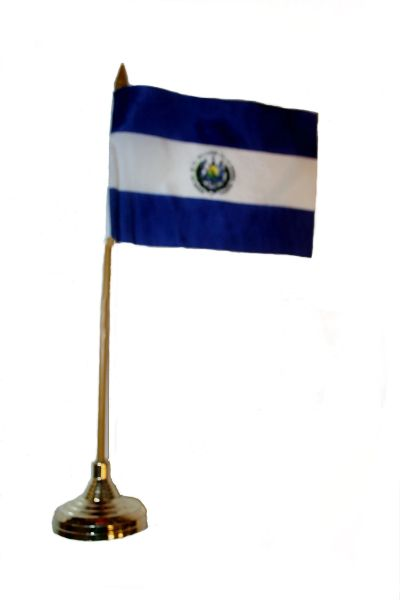 """EL SALVADOR 4"""" X 6"""" INCHES MINI COUNTRY STICK FLAG BANNER WITH GOLD STAND ON A 10 INCHES PLASTIC POLE .. NEW AND IN A PACKAGE."""