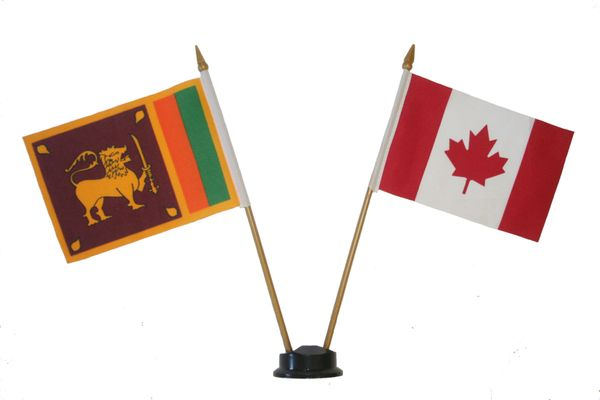 "SRI LANKA & CANADA SMALL 4"" X 6"" INCHES MINI DOUBLE COUNTRY STICK FLAG BANNER ON A 10 INCHES PLASTIC POLE .. NEW AND IN A PACKAGE"