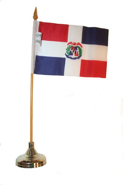 """DOMINICAN REPUBLIC 4"""" X 6"""" INCHES MINI COUNTRY STICK FLAG BANNER WITH GOLD STAND ON A 10 INCHES PLASTIC POLE .. NEW AND IN A PACKAGE."""