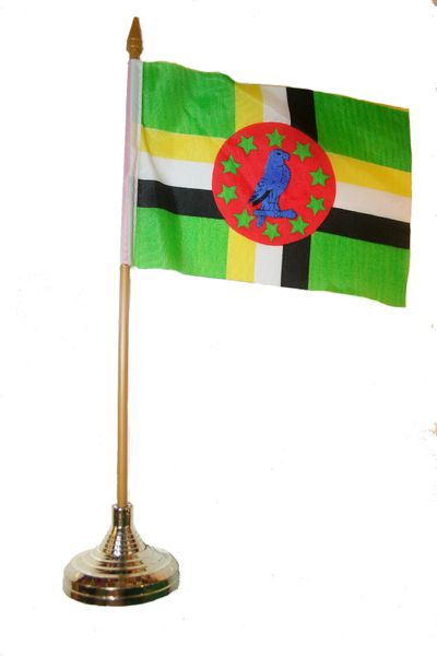 "DOMINICA 4"" X 6"" INCHES MINI COUNTRY STICK FLAG BANNER WITH GOLD STAND ON A 10 INCHES PLASTIC POLE .. NEW AND IN A PACKAGE."