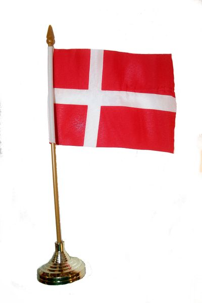 """DENMARK 4"""" X 6"""" INCHES MINI COUNTRY STICK FLAG BANNER WITH GOLD STAND ON A 10 INCHES PLASTIC POLE .. NEW AND IN A PACKAGE."""
