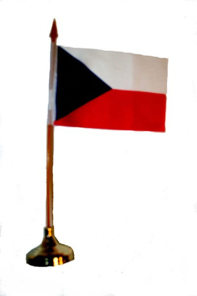 "CZECH REPUBLIC 4"" X 6"" INCHES MINI COUNTRY STICK FLAG BANNER WITH GOLD STAND ON A 10 INCHES PLASTIC POLE .. NEW AND IN A PACKAGE."