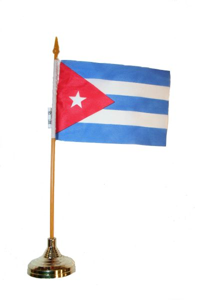 "CUBA 4"" X 6"" INCHES MINI COUNTRY STICK FLAG BANNER WITH GOLD STAND ON A 10 INCHES PLASTIC POLE .. NEW AND IN A PACKAGE."