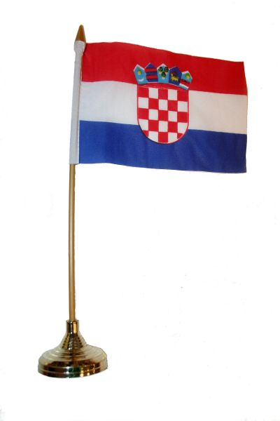 "CROATIA 4"" X 6"" INCHES MINI COUNTRY STICK FLAG BANNER WITH GOLD STAND ON A 10 INCHES PLASTIC POLE .. NEW AND IN A PACKAGE."