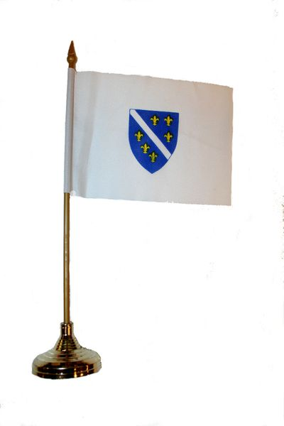 """BOSNIA & HERZEGOVINA OLD 4"""" X 6"""" INCHES MINI COUNTRY STICK FLAG BANNER WITH GOLD STAND ON A 10 INCHES PLASTIC POLE .. NEW AND IN A PACKAGE."""