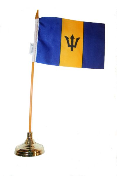 "BARBADOS 4"" X 6"" INCHES MINI COUNTRY STICK FLAG BANNER WITH GOLD STAND ON A 10 INCHES PLASTIC POLE .. NEW AND IN A PACKAGE."