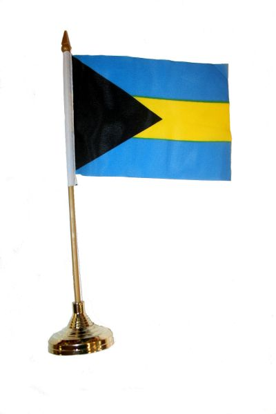 """BAHAMAS 4"""" X 6"""" INCHES MINI COUNTRY STICK FLAG BANNER WITH GOLD STAND ON A 10 INCHES PLASTIC POLE .. NEW AND IN A PACKAGE."""