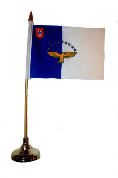 """AZORES 4"""" X 6"""" INCHES MINI COUNTRY STICK FLAG BANNER WITH GOLD STAND ON A 10 INCHES PLASTIC POLE .. NEW AND IN A PACKAGE."""