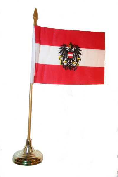 """AUSTRIA WITH EAGLE 4"""" X 6"""" INCHES MINI COUNTRY STICK FLAG BANNER WITH GOLD STAND ON A 10 INCHES PLASTIC POLE .. NEW AND IN A PACKAGE."""