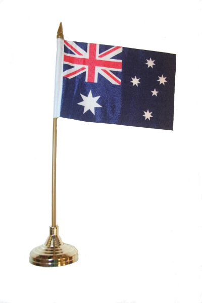 """AUSTRALIA 4"""" X 6"""" INCHES MINI COUNTRY STICK FLAG BANNER WITH GOLD STAND ON A 10 INCHES PLASTIC POLE .. NEW AND IN A PACKAGE."""