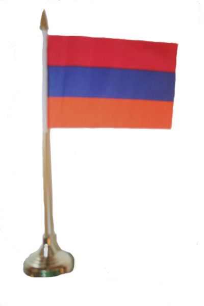 """ARMENIA 4"""" X 6"""" INCHES MINI COUNTRY STICK FLAG BANNER WITH GOLD STAND ON A 10 INCHES PLASTIC POLE .. NEW AND IN A PACKAGE."""