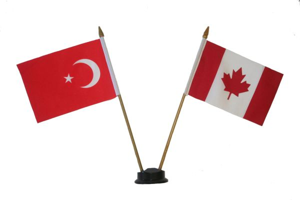 "TURKEY & CANADA SMALL 4"" X 6"" INCHES MINI DOUBLE COUNTRY STICK FLAG BANNER ON A 10 INCHES PLASTIC POLE .. NEW AND IN A PACKAGE"