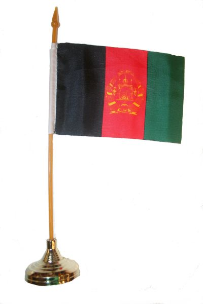 "AFGHANISTAN 4"" X 6"" INCHES MINI COUNTRY STICK FLAG BANNER WITH GOLD STAND ON A 10 INCHES PLASTIC POLE .. NEW AND IN A PACKAGE."