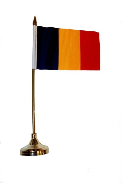 "ROMANIA 4"" X 6"" INCHES MINI COUNTRY STICK FLAG BANNER WITH GOLD STAND ON A 10 INCHES PLASTIC POLE .. NEW AND IN A PACKAGE."