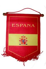 ESPANA SPAIN YELLOW RED COUNTRY DOUBLE SIDED WALL MINI BANNER .. NEW AND IN A PACKAGE.