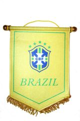 BRASIL YELLOW 5 STARS CBF LOGO FIFA SOCCER WORLD CUP DOUBLE SIDED WALL MINI BANNER .. NEW AND IN A PACKAGE.