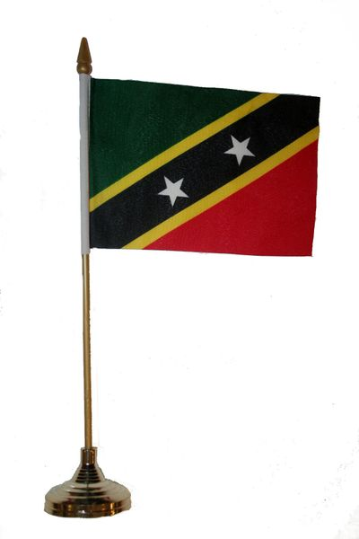 "ST.KITTS & NEVIS 4"" X 6"" INCHES MINI COUNTRY STICK FLAG BANNER WITH GOLD STAND ON A 10 INCHES PLASTIC POLE .. NEW AND IN A PACKAGE."