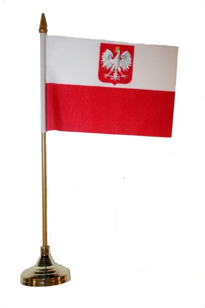 """POLAND WITH EAGLE 4"""" X 6"""" INCHES MINI COUNTRY STICK FLAG BANNER WITH GOLD STAND ON A 10 INCHES PLASTIC POLE .. NEW AND IN A PACKAGE."""