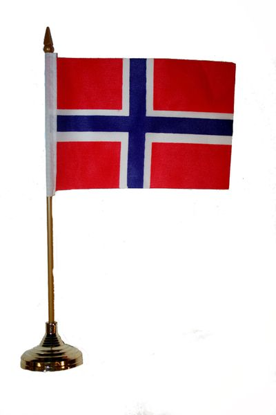 "NORWAY 4"" X 6"" INCHES MINI COUNTRY STICK FLAG BANNER WITH GOLD STAND ON A 10 INCHES PLASTIC POLE .. NEW AND IN A PACKAGE."