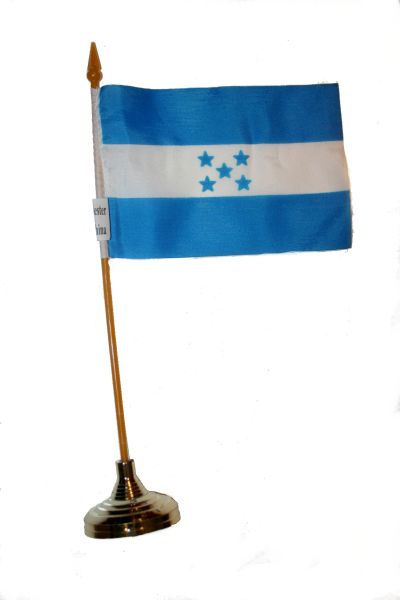 """HONDURAS 4"""" X 6"""" INCHES MINI COUNTRY STICK FLAG BANNER WITH GOLD STAND ON A 10 INCHES PLASTIC POLE .. NEW AND IN A PACKAGE"""
