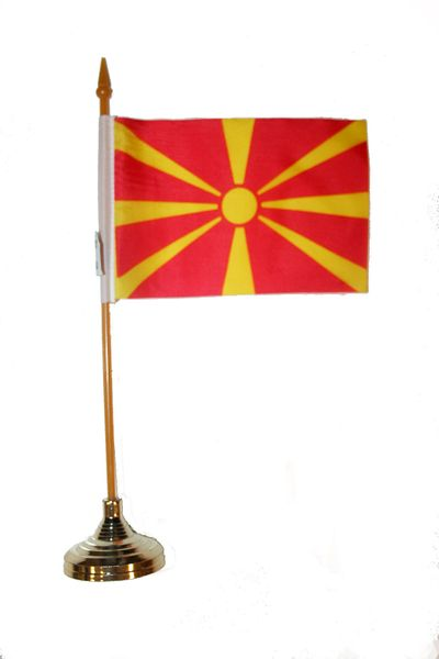 """MACEDONIA 4"""" X 6"""" INCHES MINI COUNTRY STICK FLAG BANNER WITH GOLD STAND ON A 10 INCHES PLASTIC POLE .. NEW AND IN A PACKAGE."""