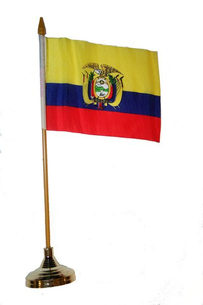 "ECUADOR 4"" X 6"" INCHES MINI COUNTRY STICK FLAG BANNER WITH GOLD STAND ON A 10 INCHES PLASTIC POLE .. NEW AND IN A PACKAGE."