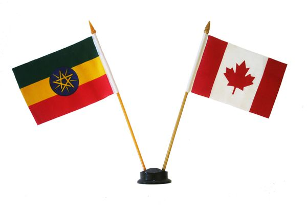 "ETHIOPIA & CANADA SMALL 4"" X 6"" INCHES MINI DOUBLE COUNTRY STICK FLAG BANNER ON A 10 INCHES PLASTIC POLE .. NEW AND IN A PACKAGE"