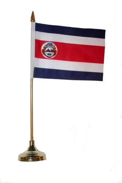 "COSTA RICA 4"" X 6"" INCHES MINI COUNTRY STICK FLAG BANNER WITH GOLD STAND ON A 10 INCHES PLASTIC POLE .. NEW AND IN A PACKAGE."