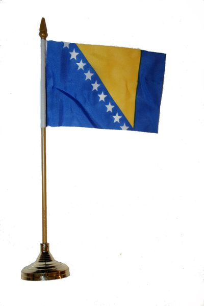 """BOSNIA & HERZEGOVINA 4"""" X 6"""" INCHES MINI COUNTRY STICK FLAG BANNER WITH GOLD STAND ON A 10 INCHES PLASTIC POLE .. NEW AND IN A PACKAGE."""