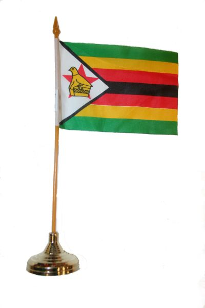 "ZIMBABWE 4"" X 6"" INCHES MINI COUNTRY STICK FLAG BANNER WITH GOLD STAND ON A 10 INCHES PLASTIC POLE .. NEW AND IN A PACKAGE."