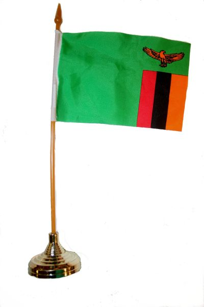 """ZAMBIA 4"""" X 6"""" INCHES MINI COUNTRY STICK FLAG BANNER WITH GOLD STAND ON A 10 INCHES PLASTIC POLE .. NEW AND IN A PACKAGE."""