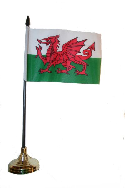 """WALES 4"""" X 6"""" INCHES MINI COUNTRY STICK FLAG BANNER WITH GOLD STAND ON A 10 INCHES PLASTIC POLE .. NEW AND IN A PACKAGE."""