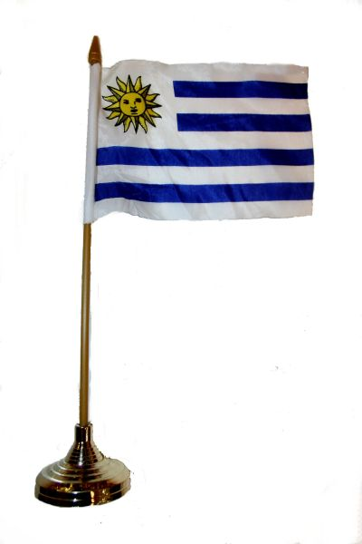 """URUGUAY 4"""" X 6"""" INCHES MINI COUNTRY STICK FLAG BANNER WITH GOLD STAND ON A 10 INCHES PLASTIC POLE .. NEW AND IN A PACKAGE."""