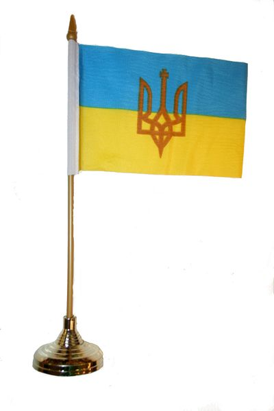 "UKRAINE WITH TRIDENT 4"" X 6"" INCHES MINI COUNTRY STICK FLAG BANNER WITH GOLD STAND ON A 10 INCHES PLASTIC POLE .. NEW AND IN A PACKAGE."