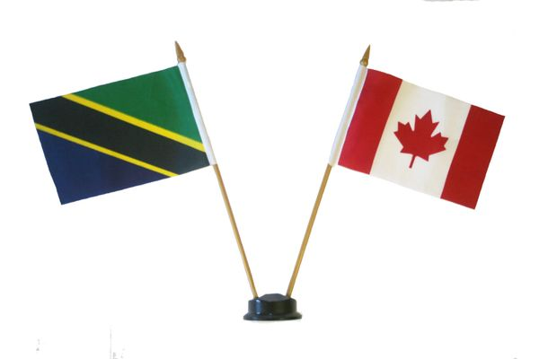 "TANZANIA & CANADA SMALL 4"" X 6"" INCHES MINI DOUBLE COUNTRY STICK FLAG BANNER ON A 10 INCHES PLASTIC POLE .. NEW AND IN A PACKAGE"