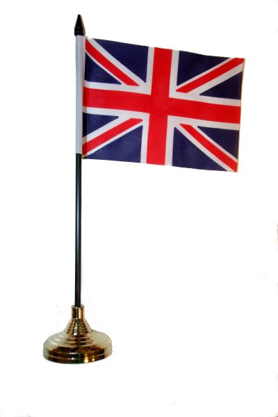 "UNITED KINGDOM 4"" X 6"" INCHES MINI COUNTRY STICK FLAG BANNER WITH GOLD STAND ON A 10 INCHES PLASTIC POLE .. NEW AND IN A PACKAGE."