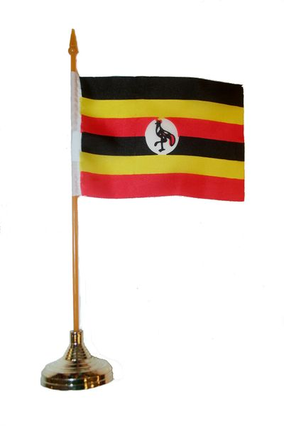 """UGANDA 4"""" X 6"""" INCHES MINI COUNTRY STICK FLAG BANNER WITH GOLD STAND ON A 10 INCHES PLASTIC POLE .. NEW AND IN A PACKAGE."""
